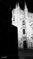 Duomo di Milano (Massimo Vitellino) Tags: cathedral church structure architecture medieval milan piazzaduomo perspective outdoors city night travel monument abstract contrast conceptual lights shadows religion hdr blackandwhite