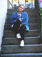 Miriam (livsillusjoner) Tags: jeans jeansjacket brunette stairs staircase outside outdoor norge tromsø troms blue white stripes black pale portrait people