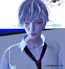 One of my main school theme avatar, just random shot (Light Aoshimori) Tags: handsome school anime boy study whitehair edelweiss eyes s0ng sky blue white horizon