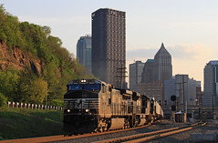 """Through the Station"" (GLC 392) Tags: ns norfolk southern ge c409w emd sd70m2 d940cw 9388 2664 9801 downtown down town pittsburgh pa pennsylvania cpl color position light signal buildings life evening railroad railway train hot shot van"