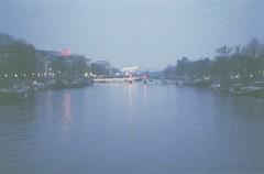 (Šarbel) Tags: amsterdam netherlands film kodak ricoh analog fog bridge lights blue river amstel canal twilight magere brug half gold200