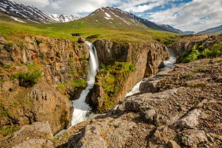 Waterfall in Eyjafjordur Iceland