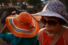 Bagan, Myanmar (jaumescar) Tags: mandalayregion myanmarburma hat tourist chinese asian people street photo smartphone orange sunglasses face color women colourful souvenir