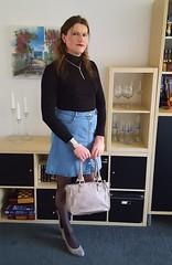 Just an average girl (Rikky_Satin) Tags: turtleneck sweatshirt denim skirt pantyhose pumps crossdresser crossdressing transformation m2f mtf feminization transgender tgirl tgurl gurl