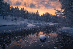 Snow River (lonekheir) Tags: norge norway winter snow ice river water forest trees sunset frost cold frozen