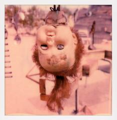 East Jesus Doll (tobysx70) Tags: polaroid originals color 600 instant film slr680 roidweek roid week polaroidweek spring april 2018 east jesus doll art center road niland california ca creepy scary head upsidedown toy ginger red hair installation found folk mojave desert polaroadtrip polawalk 030718 day3 toby hancock photography