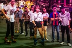 Night time weekend dress code, Hanoi. (Goran Bangkok) Tags: hanoi hoankiem vietnam night people skate skating young girls boys playing