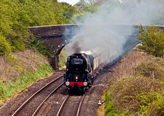 under the bridge (midcheshireman) Tags: steam train locomotive mainline cheshire bulleid pacific 34046