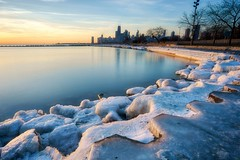 The Frozen Shore (BlinkOfALens) Tags: chicago illinois unitedstates us cityscape winter lakemichigan longexposure sunrise ice skyline