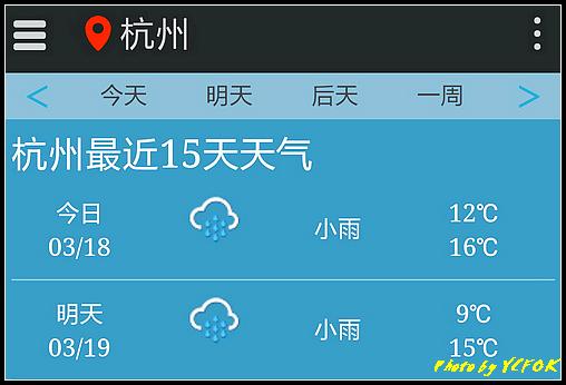 杭州 2018-03-18 天氣