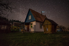 Starry House (free3yourmind) Tags: stars starry house grass nature milky way night sky nightsky dark skies fireplace smoke cottage braslav braslaw belarus