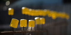 Safety yellow bokeh (OzzRod (on the road again)) Tags: pentax k1 smcpentaxk200mmf4 yellow buildingsite safety bokeh stitch panorama dailyinmay2018