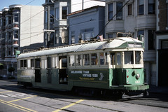 US CA San Francisco MUNI 648 Melbourne W2 Class 9-12-1985 17th-Castro (David Pirmann) Tags: california sanfrancisco muni tram trolley streetcar transit railroad transportation
