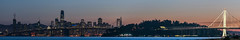 outer harbor panorama (pbo31) Tags: bayarea california eastbay alamedacounty nikon d810 color may 2018 spring boury pbo31 urban city oakland portofoakland sanfrancisco skyline sunset orange baybridge burma bridge 80 bay salesforce transamerica 181fremont dark black easternspan panoramic large stitched panorama prescott