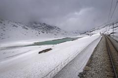 bernina express II (koaxial) Tags: p4298872p1ma koaxial bernina express railroad schiene eisenbahn schnee snow cold ice train zug wolken clouds grey lake water frozen glacier landscape