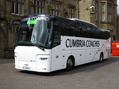 L8 OVA is a VDL Bova of Cumbria Coaches, Carlisle, seen outside Carlisle Railway Station on 28 April 2018. (C15 669) Tags: l8 ova cumbria coaches carlisle