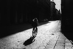 The Adventure of the Solitary Cyclist (Andrew G Robertson) Tags: bologna romagna emilia streetphotography street monochrome black white cyclist italia