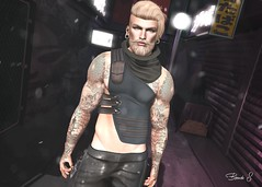 LOTD 102 (Brendo Schneuta) Tags: game modulos gaeg menonly meva secondlifeblog second top keepcalm avatar style fashion brendo blonds outfit wrong pose releases event hair beard straydog secondlife blog blogger fameshed japan backdrop night photoshop dappa tatto