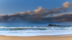 Early Morning Seascape with Clouds (Merrillie) Tags: daybreak sunrise nature dawn clouds centralcoast morning northpearlbeach sea newsouthwales rocks pearlbeach nsw sky rocky ocean earlymorning landscape australia coastal waterscape outdoors seascape waves coast water seaside