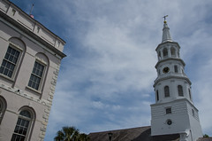 """On a Steeple Chase"" (Photography by Sharon Farrell) Tags: 71broadstreet stmichaelschurch fourcornersoflaw oldestsurvivingchurchincharleston charlestonsouthcarolina charlestonsc georgianarchitecture broadmeetingstreets frenchquarter stmichaelsepiscopalchurch"