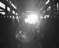 Bus at sunset (Kurtis Chen) Tags: mamiya rz67 lens flare 90mm f35 toronto transit ttc bus black white ilford hp5 kodak trix