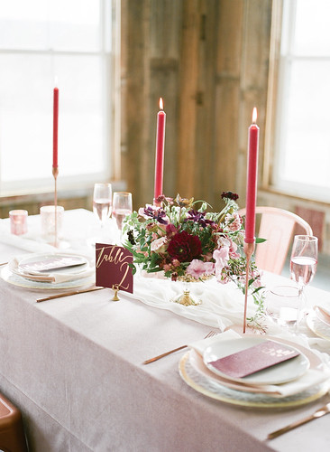 "Pink and Burgundy Table Set-Up with Tall Burgundy Candlelight • <a style=""font-size:0.8em;"" href=""http://www.flickr.com/photos/81396050@N06/41379502035/"" target=""_blank"">View on Flickr</a>"