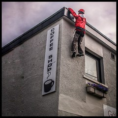 Hanging by the fingertips ! (FotoFling Scotland) Tags: mannequin dummy scotland shop hanging ullapool