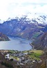 tiny town (ekelly80) Tags: norway geiranger geirangerfjord april2018 spring flydalsjuvet view viewpoint mountains snow fjord water above lookdown town møreogromsdal