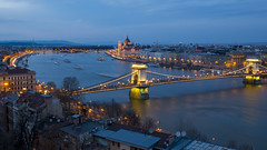Széchenyi Lánchíd and Parliament at the background (HansPermana) Tags: budapest hungary ungarn city oldtown kingdom cityscape architecture danube river reflection parliament water longexposure lights bluehour europe eu europa centraleurope spring 2018 april