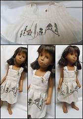 Made my first Sasha dress (Belladona Blythe and Friends) Tags: sasha doll first summerdress made by me hand embroidered