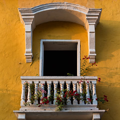 Cartagena Balcony Flowers (Packing-Light) Tags: cartagena colombia southamerica yellow street architecture colorful vibrant buildings square day