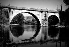 Ponte de São Gonçalo - Amarante (verridário) Tags: ponte rio bridge mono monocromático monochrome reflexos reflex noir black bw river tamega water agua viaduto serenity serenidade arco historia history sony circle