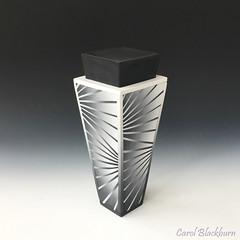 Lidded pot in monochrome (Carol Blackburn - London) Tags: watermarked pots fimo staedtler blend blackwhite skinner lidded polymer clay