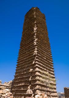 Traditional clay and silt watchtower used as a granary, Asir Province, Ahad Rafidah, Saudi Arabia