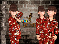 Its A Dogs Life Tweenster Unisex Pajamas(GIRLS) (stephentryce) Tags: pj pajama boys girls boy girl kids sleepwear night sl secondlife fashion virtual fantasy children tweenster grey goose cute bedtime