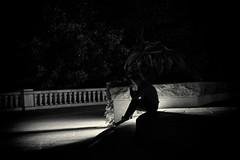 untitled (ChrisRSouthland) Tags: montreal street night nightphotography nightlights person figure contrast stairs nikond800 nikkor85mmf18 blackandwhite blackwhite monochrome