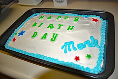My Birthday Cake. (dccradio) Tags: lumberton nc northcarolina robesoncounty indoors inside cake dessert homecooking sweet treat happybirthday birthdaycake candy frosted frosting iced icing cakepan star stars green blue red white food eat timer snack nikon d40 dslr