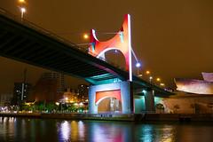 Arrivée sur Bilbao (Le.Patou) Tags: espagne spain españa basque euskadi vasco nuit night noche musée museum museo gugenheim pont bridge puente arrivée arrival llegada ville city ciutad arc rouge arche red rojo bilbao