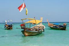 Boats (good.fisherman) Tags: horizon over water coastline vacations waterfront jetty beach coast boat shoreline motorboat thailand lipe travel