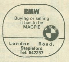 1987 Magpie BMW newspaper advert (Nivek.Old.Gold) Tags: magpie bmw londonroad stapleford cambridge 1987 newspaper advert