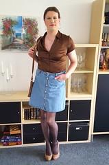My favorite skirt (Rikky_Satin) Tags: silk satin blouse denim skirt pantyhose nylons pumps highheels crossdresser crossdressing transvestite transgender tgirl tgurl gurl
