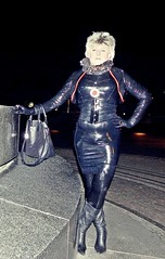3 (Gabriela Brown) Tags: latex gummi rubber girl woman frau heels boots stiefel gummiert fashion outdoor outside public night out blond handschuhe gloves mode high dark dresden