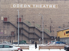 Odeon Theatre (roughtimes) Tags: 201803108022 copy1 winnipeg odeon theatre burton cummings giant tiger fire escape ladders snakes winter city walk snow