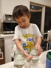 Liam measuring water in 2 glass jars (avlxyz) Tags: liam lfb science water