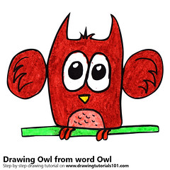 Owl from word Owl (drawingtutorials101.com) Tags: owl from word with words animals bird birds draw drawing drawings color colors coloring pencil pencils how speed