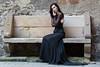 Stone bench (piotr_szymanek) Tags: karolina karolinaka woman milf young skinny portrait outdoor dress blackdress face eyesoncamera longhair transparent stone bench 1k 20f 50f 5k 10k 100f 20k