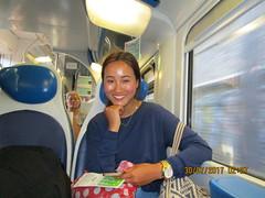 The train to FCO (RubyGoes) Tags: woman man blue red rome italy black white polkadots bag seats light passengers italia rail