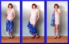 06 Robe bleue, fond de robe, guêpière, bas, talons (sophie_bas_nylons) Tags: sophie bas nylons stockings slip girl lady flaher exhib coquine robe bleue blue dress lingerie heels girdle guêpière string tranny travestie salope