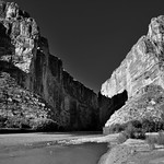 A Canyon and River to Separate Two Countries and Create a Border (Black & White) thumbnail