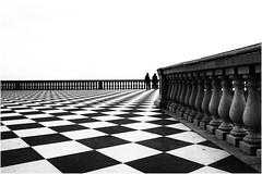 """la """" mia """" terrazza Mascagni  ... (miriam ulivi - OFF /ON) Tags: miriamulivi nikond7200 toscana livorno lungomare seafront terrazzamascagni bn bw architettura geometrie scacchiera monochrome 7dwf"""